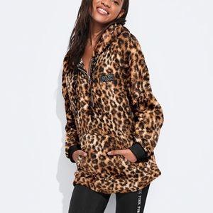 PINK Leopard Sherpa Half Zip Hoodie